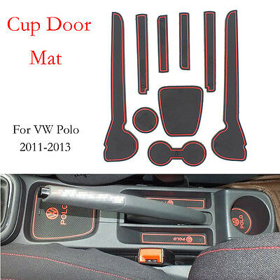 Red Non-Slip Interior cup Door Mat cover For VW Volkswagen Polo 2011-2013 9pcs