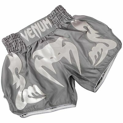 Venum Bangkok Inferno Grey White Muay Thai MMA BJJ Fight Short Training Shorts