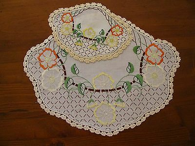 Vintage 2 pc Duchess Set of Doilies Quality Linen Embroidery Crochet Shabby Chic