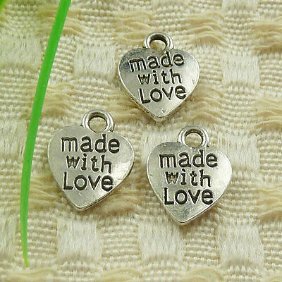 12x10mm Free Ship 140pcs tibetan silver made with love heart charms S4732
