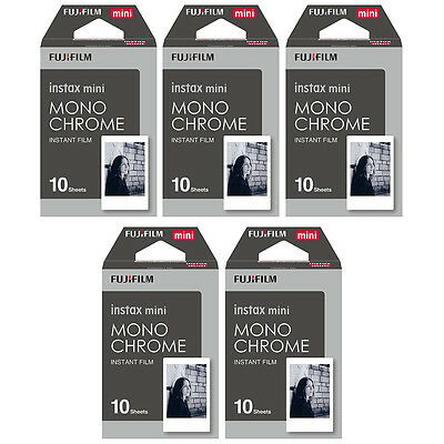 5 Packs 50 Photos Monochrome FujiFilm Fuji Instax Mini Film Polaroid 7S 8 SP-1