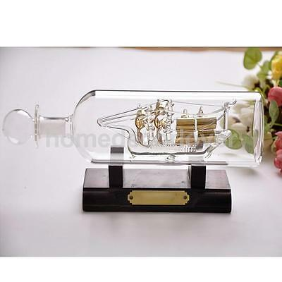 Gold Sailing Boat in Bottle Ship in Glass Office Hall Living Room Decor UK