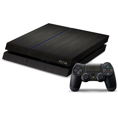 Wood Black Skin Sticker Cover For PS4 Playstation 4 Console Decal Set Vinyl NEW