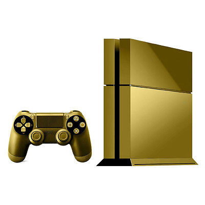Brushed Gold Skin Sticker Cover For PS4 Playstation 4 Console Decal Set Vinyl