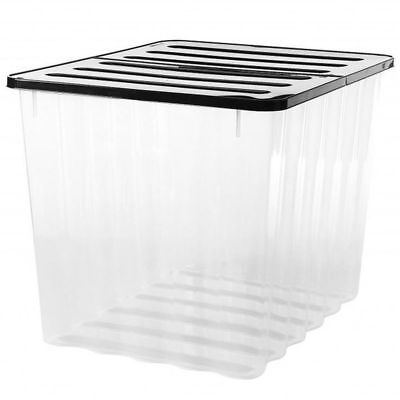 Strata 110L Clear Plastic Stackable Storage Box Black Lid Strong Container HW397