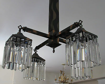 Outrageous 1920-40s Copper Flash Striations Chandelier 80 Prisms Deco Mission