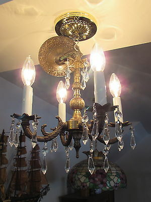 Lovely Vintage Bronze Finish Smaller Chandelier Crystal Prisms lighting