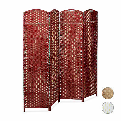 Tall Paravent Bamboo Room Divider Panel Screen w/ 4 Panels Privacy Partition