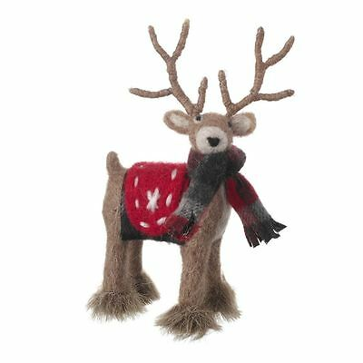Standing Woolleen Reindeer With Checked Scarf