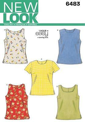 NEW LOOK Sewing Pattern Miss Womens Ladies Easy to Sew Tops Sz 6-16 ~6483
