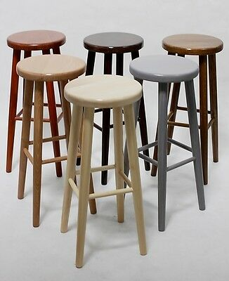 BRAND NEW *SOLID & STURDY* HARD BEECH WOOD KITCHEN BAR STOOL WOODEN CHAIR H:73cm