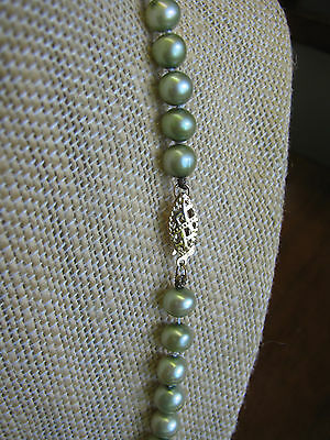10K Solid Gold Clasp GREEN Fresh Water Pearl Strand Necklace Signed CP