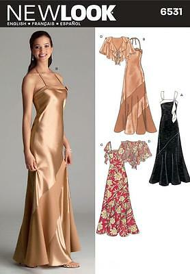 NEW LOOK  Sewing Pattern Miss Ladies  Evening Gown Dress+Capelet~6531 Sz 6-16