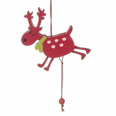 Wooden Festive Red Reindeer Jumping Pull String Decoration