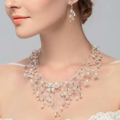 Diamante Rhinesstone Pearls Necklace Earrings Wedding Bridal Jewelry Set