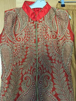 bargain Orange/red indian suit with sharara bottom. size 8. Like Brand New!! • EUR 54,61