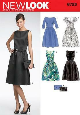 NEW LOOK Pattern Sewing Ladies Miss Women Clothing Plus Dress+Purse~6723 Sz 8-18