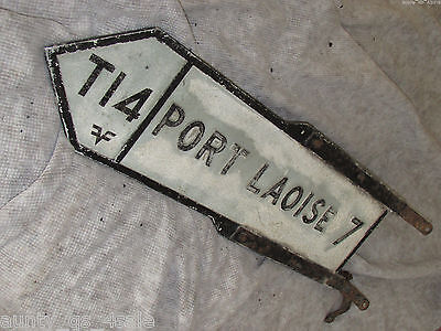 Antique Original large metal Irish road Sign Portlaoise County Laois Ireland