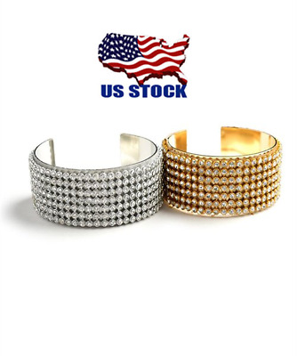 Women Bling Gold Silver Plated Jewelry Multi Stone Layer Open End Cuff Bracelet
