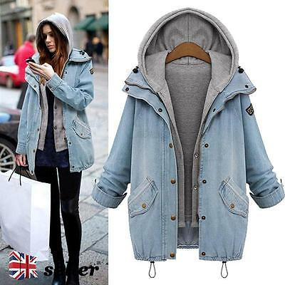 New Womens Ladies Winter Hoodie Coat Bomber Jacket Top Hooded Jean Denim Outwear