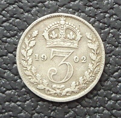 1902 EDWARD VII SILVER THREEPENCE ALL VF or Better