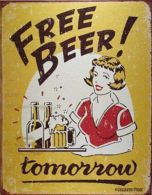 Free Beer Tomorrow Metal Bar Sign Tin Wall Decoration for Home Pub Caffee