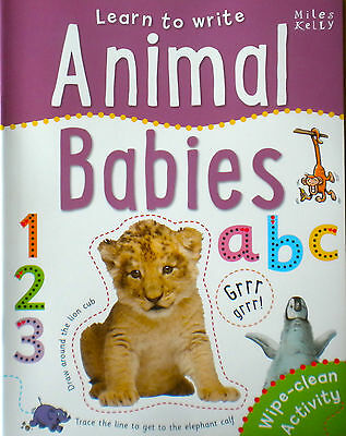 Animal Babies Learn to Write children's wipe clean book early learning