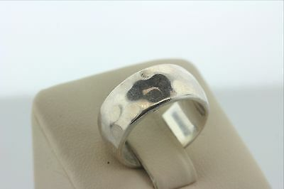 Signed MWS Taxco Mexico Hammered Finish 9mm Ring Band- Sterling Silver 925- Sz 7
