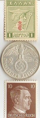 "* antique 1913 -  *greek ""Mercury stamp"" + silver 1937  *german  EAGLE  coin ."