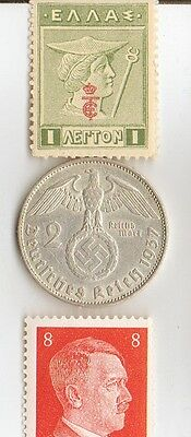"- Antique 1913 -  *greek ""Mercury stamp"" + silver 1937  *german  EAGLE  coin ."