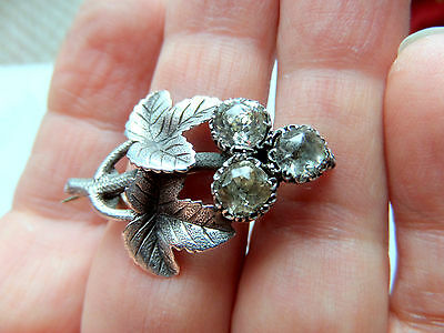 Georgian Silver and Paste Ivy leaf  Brooch 3x 1ct diamond cut paste