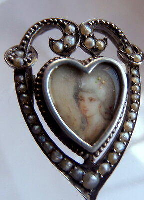 Georgian Miniature  Silver and Seed Pearls Portrait Sweetheart Heart Locket
