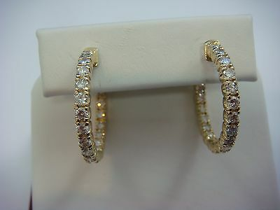 2 Ct Diamonds In And Out 14K Yellow Gold Hoop Earrings,1 Inch Diameter,9.1 Grams