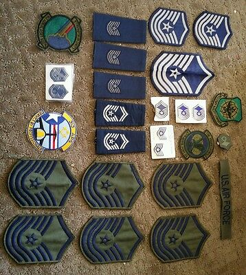 Vintage lot US Air Force USAF Rank Patches & pins Awards, Insignia sergeant