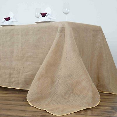 "90x156"" Rectangle Rustic Burlap Tablecloth - Natural Tone"