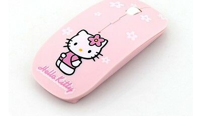 Ultra Thin pink 2.4Ghz USB Computer Hello Kitty Wireless Mouse
