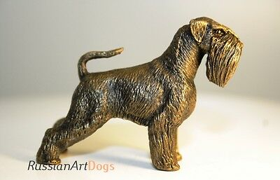 Schnauzer statuette dog miniature pewter figurine tin