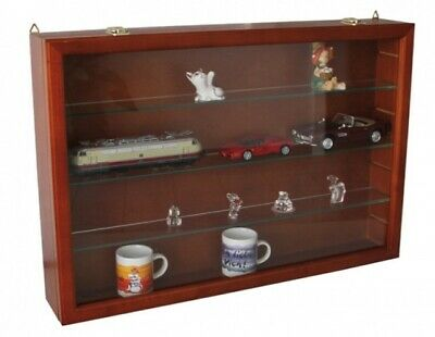 Figurine Display Case in Cherry Wood with Glass Shelves