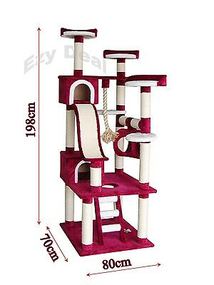 Brand New Giant 198cm Cat Tree Scratch Post Scratching Pole Tower Gym Toy * ED50