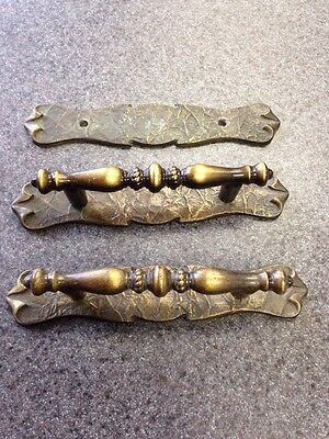 2 Vintage Brass Hammered Drawer Pull Handles w Backplate Amerock Carriage House