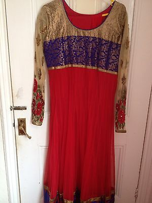 Indian Designer Bollywood Anarkali Party Dress. Size 42 Priced Reduced!