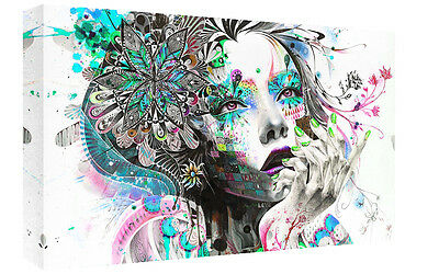 Multi Coloured Girl Abstract Art on CANVAS WALL ART Picture Print A4 A1 A2
