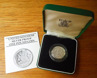 1983 £1 One Pound Silver Proof Piedfort Royal Mint Boxed With Coa