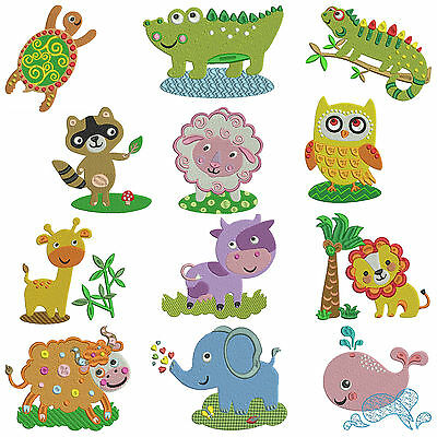 * ANIMAL ADVENTURE * Machine Embroidery Patterns ** 12 Designs in 3 sizes