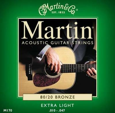 Martin Acoustic Guitar Strings Extra Light 80/20 Bronze Gauge 10-47 (M170)