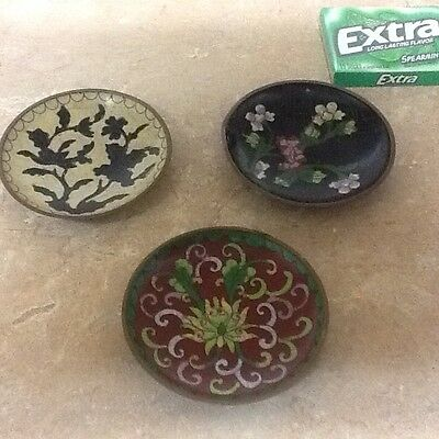 antique ceramic coated metal saucers,set of three,hand painted,collectibles.