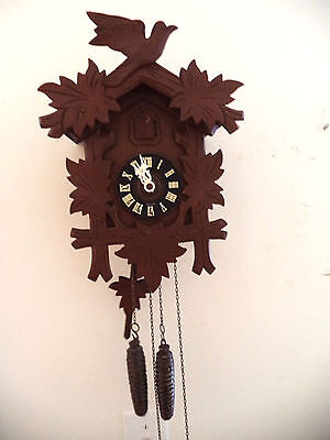 Adorable Vintage Black Forest Cuckoo Clock-30 Hour-Working Germany-Hand Carved!