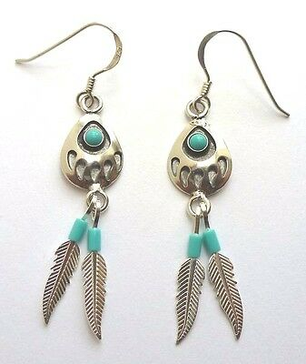 Native American Indian Jewelry Bear paw sterling silver earrings made by Navajo