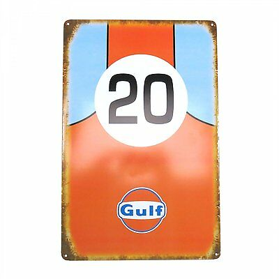 Vintage Antique Gulf Racing 20 Motor Oil Gasoline Advertising Tin Metal Sign