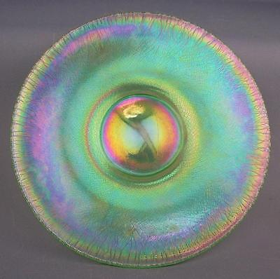 "STRETCH GLASS PLATE - Florentine Green 8¾"" Diameter with 3⅝"" Base"